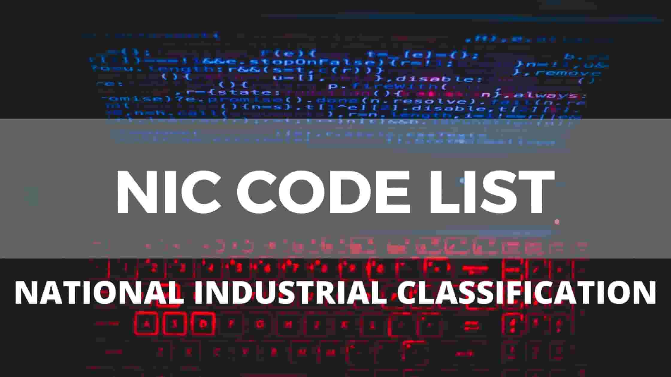 nic code list - National Industrial Classification